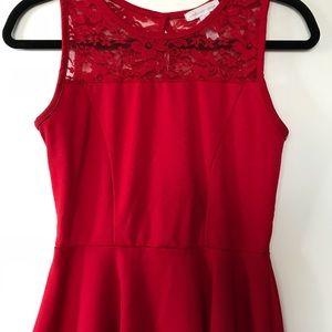 Candy Red peplum shirt